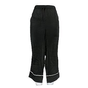 Enhver Kvinder & apos;s Pyjamas Bukser Piped Satin Pyjamas Bukser Sort A353765