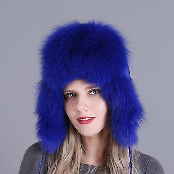 Women Natural Raccoon Fox Fur Ushanka Hats Winter Thick Warm Ears Fashion
