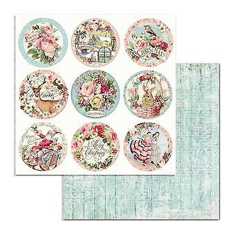Stamperia Pink Christmas Rounds 12x12 Inch papieren vellen