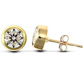 Jewelco Londyn 9ct Yellow Gold White Round Brilliant Cubic Cyrkonia Rub Over Solitaire Stud Kolczyki, 5mm
