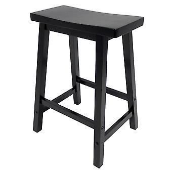 """Satori 24"""" Saddle Seat Bar Stool Black"""