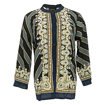 Bob Mackie Women's Top Bombay Placement Print Button Front Blue A377971