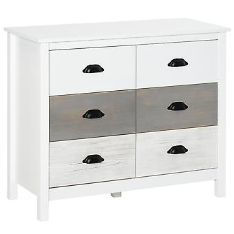 HOMCOM Chest of Drawers Side Storage Cabinet Home Organizer 6-Drawer Unit Tower with Round Handle for Bedroom, Living Room, White Grey