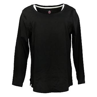 Isaac Mizrahi Live! Women's Top Pima Shirttail Hem Black A398416