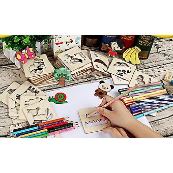 48 Pcs Children's Wooden Painting Mold Kits, Painting Templates And Cutout Kits With Different Animal Patterns