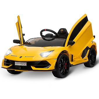 HOMCOM Compatible 12V Battery-powered Kids Electric Ride On Car Lamborghini Aventador Sports Racing Car Toy with Parental Remote Control Music Lights Suspension Wheels for 3-8 Years Old Yellow