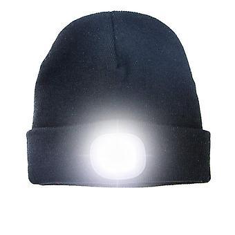 Chapéu com luz LED recarregável - preto