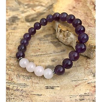 Amethyst & Rose Quartz Stretch Bracelet! Natural Crystals!