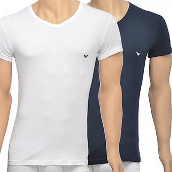 Emporio Armani 2-paquete de elástico de algodón con cuello en v camiseta, blanco/azul marino, gran