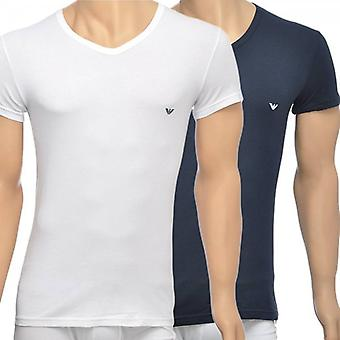 Emporio Armani 2-Pack Stretch Cotton V-Neck T-shirt, White/Navy, Large