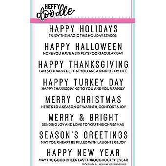 Heffy Doodle Holiday Sentiment Duos Clear Stamps