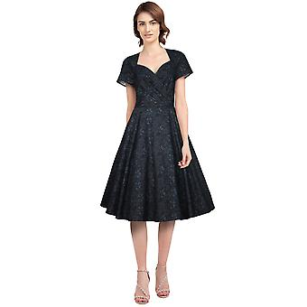 Chic Star Wrap Retro Dress In Black/Floral