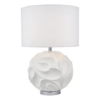 Dar ZACHARY Table Lamp White Round com Shd