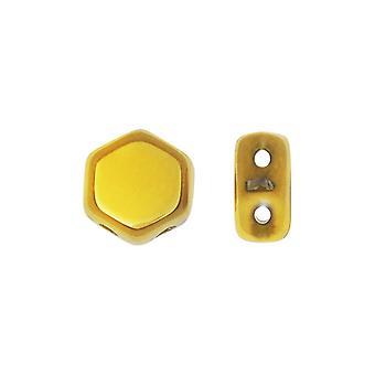 Czech Glass Honeycomb Beads, 2-Hole Hexagon 6mm, 30 Pieces, Crystal Full Amber