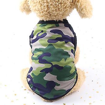 Dog cat clothes summer cotton camouflage vest teddy bichon