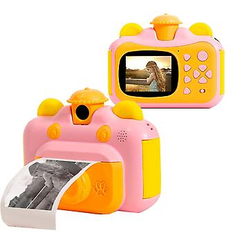 Instant Print Camera for Kids with Print Paper(Pink)