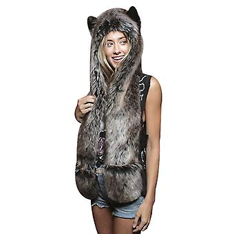 Wolf Head Hat Mittens Scarf Paws Prints And Ears Furry Hoodie