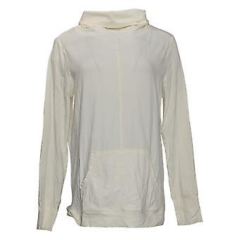 AnyBody Kvinders Top Hyggelig Strik Cowl Neck Pullover White