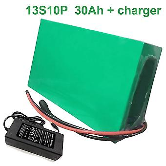 Battery With Charger 30ah 48v Li-ion 18650 Rechargeable Electric Bicycle E-bike Ebike Accept Customization 13s10p 250 * 190 * 70mm