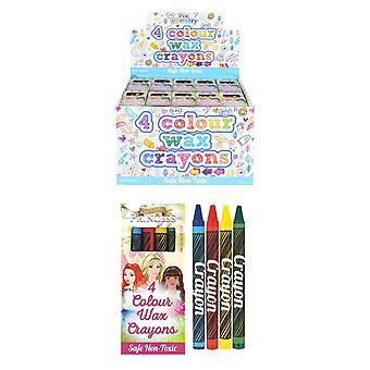 Låda med 120 förpackningar med 4 färgvaxkritor (princess)