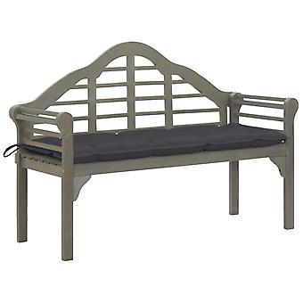 vidaXL Queen garden bench with pad 135 cm solid wood acacia grey