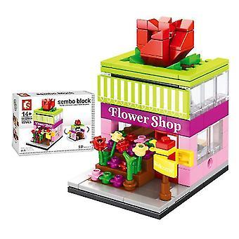 مدينة شارع زهرة متجر بناء كتل نموذج لعبة للأطفال هدية صغيرة،
