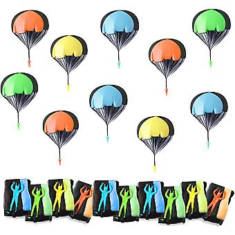 10 Stück Fallschirm Spielzeug Kinder, Klein Fallschirmspringer Hand werfen Fallschirm, Wurf