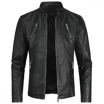 Swotgdoby mannen standaard kraag casual lederen jas, slim fit lichtgewicht motorfiets jas