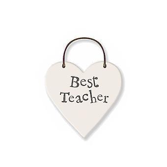 Best Teacher - Mini Wooden Hanging Heart - Cracker Filler Gift
