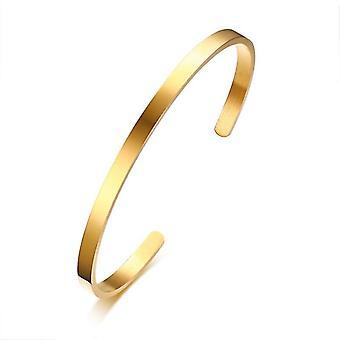 Cross Cuff Armbånd, Rustfrit Stål Åben Manchet-armbånd (Gold1)