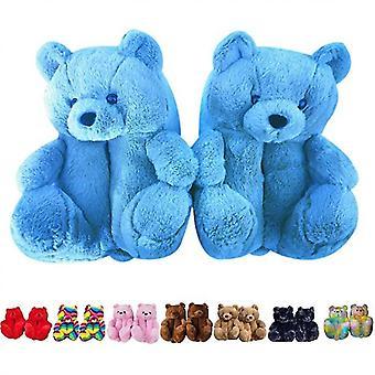 Teddy Bear Slippers, Home Indoor Soft Anti-slip Faux Fur Cute Slippers(Blue)