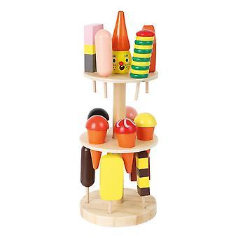 Petit stand de crème glacée pour pieds avec 15 crèmes glacées différentes Jouet en bois