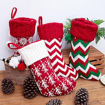 New Christmas ornaments knitted Christmas stockings  woolen socks  red and white elk gift bags  children's gift bags