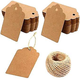 Kraft Paper Tags - 200pcs KraftPapier Blank Geschenkanhänger mit 30 Metern Bindfaden für Kunst und Handwerk, Hochzeit Weihnachten Thanksgiving und Urlaub für Handwerk