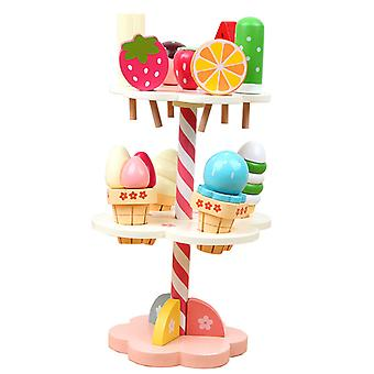 Wooden Simulation Ice Cream Pretend Play Toy Cake Tower Kitchen Food Toys