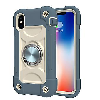 Suitable For Iphone Xs Max/6.5 Mobile Phone Shell, Contrast Color Rotating Bracket Shell, Double Ring All-inclusive Protective Cover (smoggy Blue)