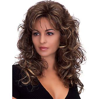 Brand Mall peruukit, pitsi peruukit, realistinen pörröinen pitkät hiukset kihara ruskea peruukit