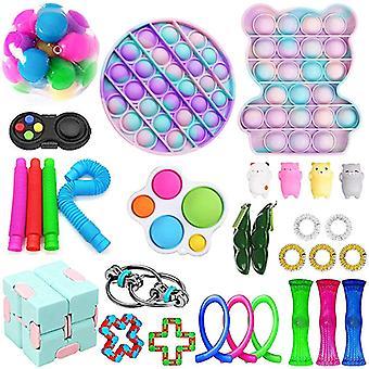 Fidget Toys Set With Push Pop Bubble Simple Dimple,decompression Fidgets