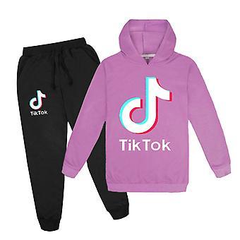 Purple Douyin Băieți și fete Hoodie + Pantaloni pulover Set
