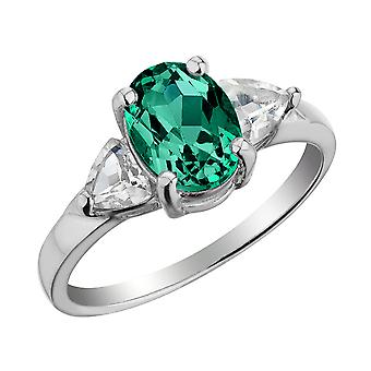 Sterling Silver Lab-Created Emerald and White Topaz Ring
