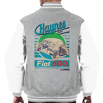 Haynes Workshop Manual Fiat 500 Blue Stripe Men's Varsity Jacket
