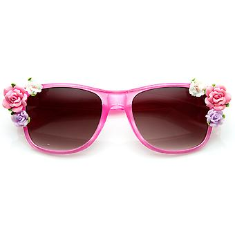 Flower Adorned Color Coated Horn Rimmed Sunglasses