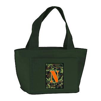 Letter N Monogram - Camo groen met rits geïsoleerde School afwasbaar en stijlvolle Lu