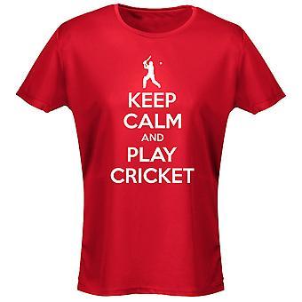 Hålla lugn och spela Cricket Womens T-Shirt 8 färger (8-20) av swagwear