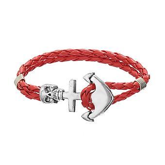 Bracelet Homme Crâne et Ancre en Cuir Tressé Rouge et Acier Inoxydable