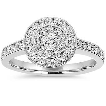 1 / 2ct Dwuosobowy Halo okrągły diament pierścionek zaręczynowy 10K białe złoto
