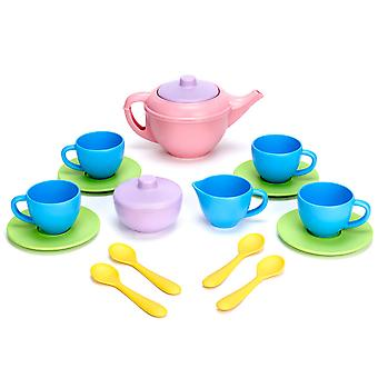 Green Toys Pretend Play Tea Set with Pink Teapot BPA Free 100% Recycled