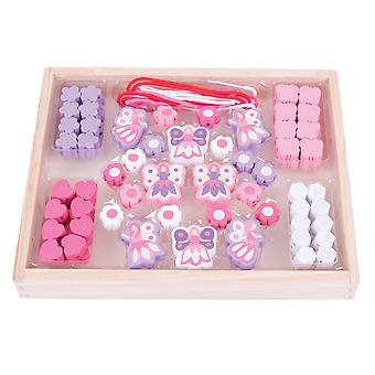 Bigjigs giocattoli colorati in legno fata perlina casella Threating allacciatura Arts Crafts Kids