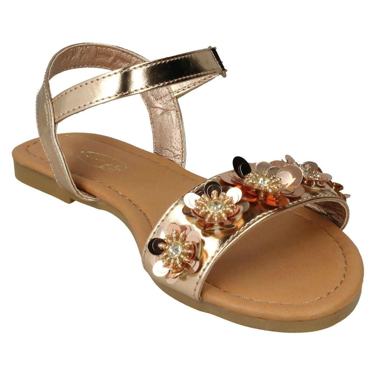 Girls Spot On Sequin Flower Trim Sandals H0270