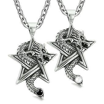 Dragons de courage étoiles Pentacle amulettes Love Couples meilleurs amis chats simulé yeux Onyx colliers